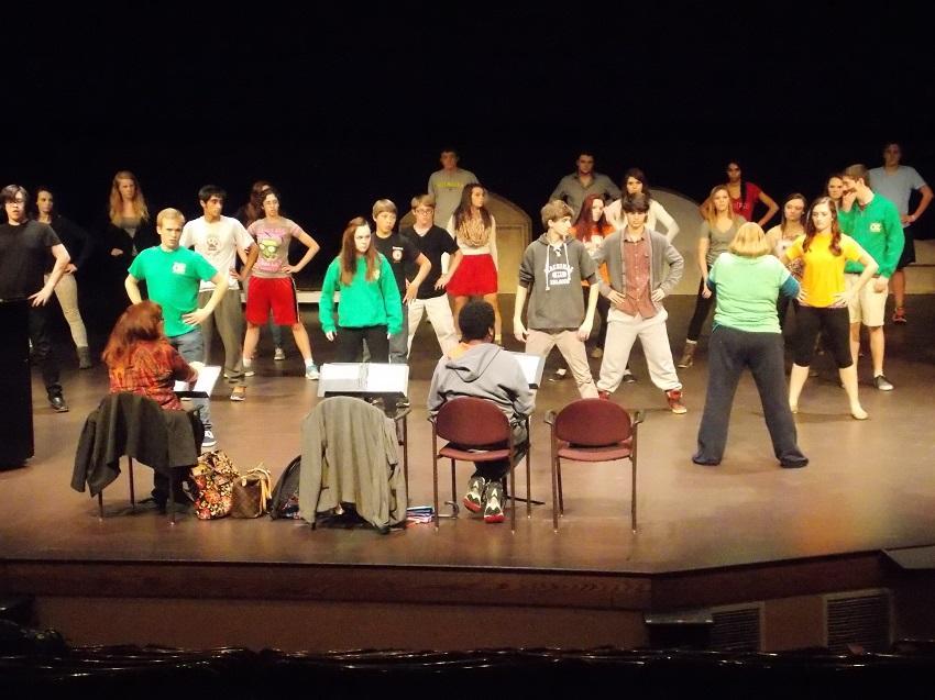 The crew rehearses one of many amazing scenes.