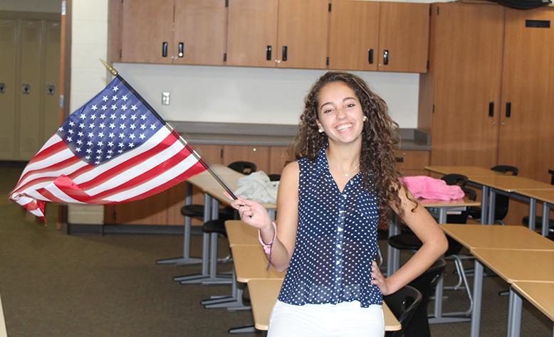 Sara Lopez-Naveira (12) shows her American spirit.
