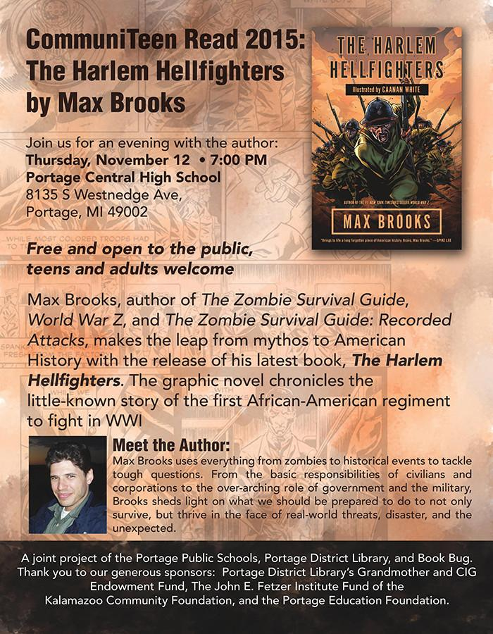 Best selling author Max Brooks coming to Portage