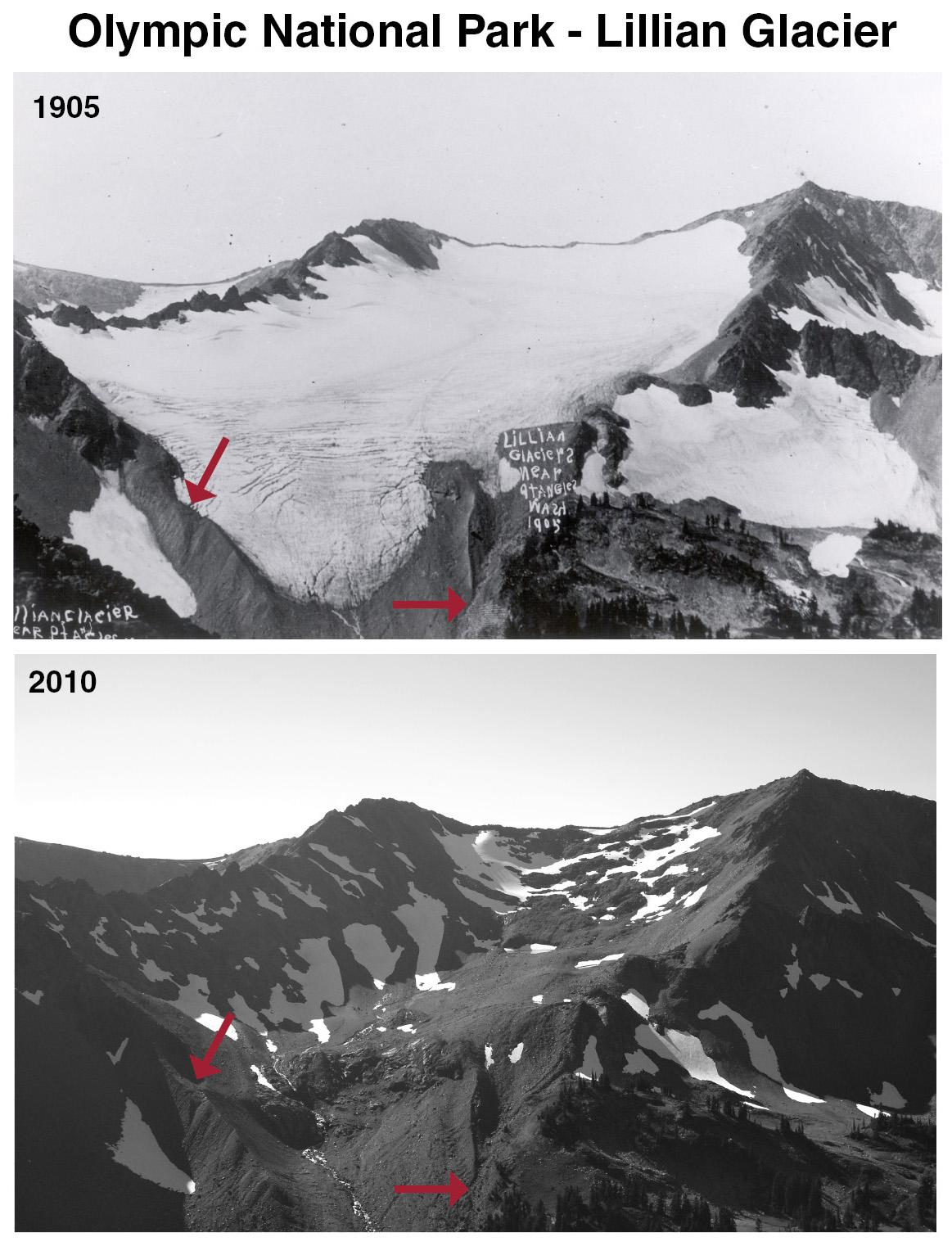 This photo shows the recession of the Lillian Glacier at Olympic National Park.
