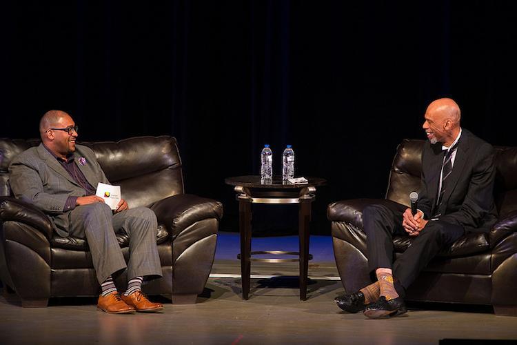 Tim Terrentine interviews Kareem Abdul-Jabbar at Miller Auditorium.