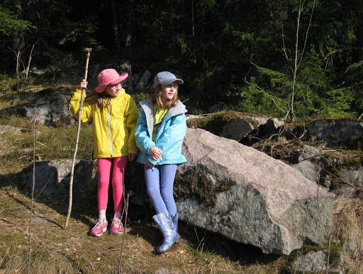 "Astrid is pictured with her sister Mai Elise near Songsvann Lake in Norway.  ""We were hiking in the forest,"" she says. ""This is something that my family and I did often in Norway. On this outing we were looking for a geocache."" A geocache is a high-tech scavenger hunt that is done outside using a GPS. Photo courtesy of Astrid Code."