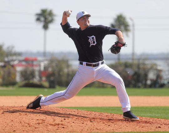 Tigers pitcher Casey Mize pitches during batting practice during spring training on Tuesday, Feb. 19, 2019, at Joker Marchant Stadium in Lakeland, Florida. Photo by Kirthmon F. Dozier / Detroit Free Press.