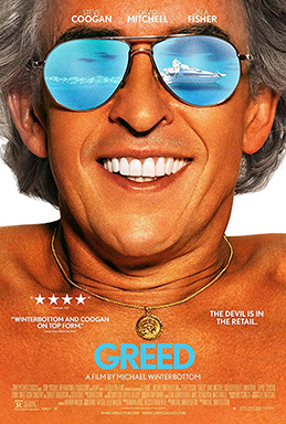 The film's poster boasts the star with his shiny white veneers and burnt to a crisp tan