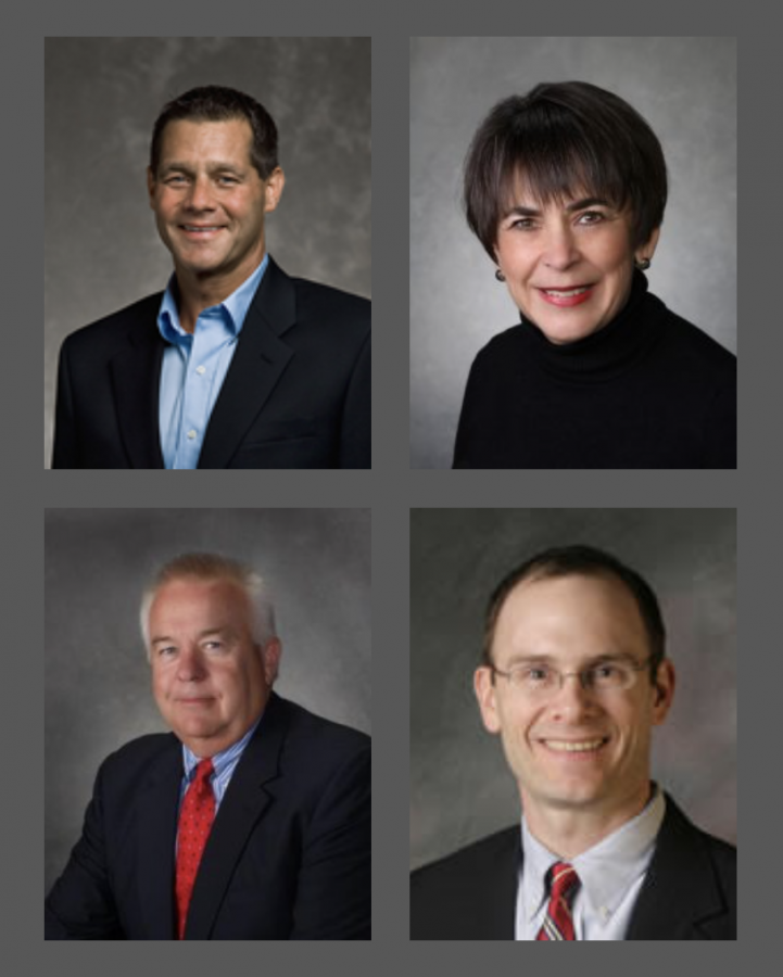 The 2020 elected school board members, clockwise from top left: Rusty Rathburn, Terri Novarria, Rusty Droppers, and Bo Snyder.