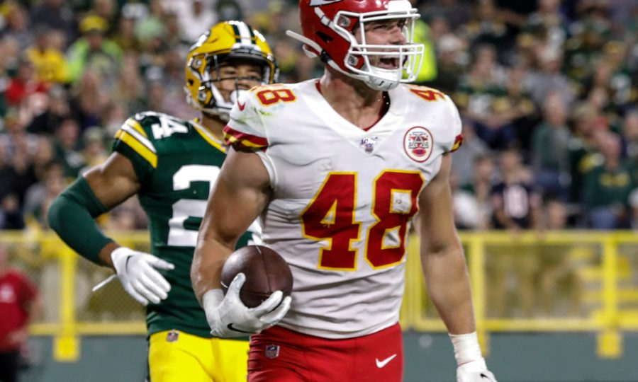 Kansas City Chiefs' Nick Keizer reacts after catching a touchdown pass during the second half of a preseason NFL football game against the Green Bay Packers Thursday, Aug. 29, 2019, in Green Bay, Wis. (AP Photo/Mike Roemer).