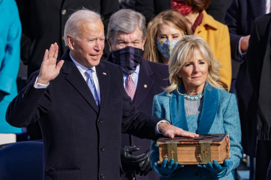 Joe Biden is sworn in as U.S. President during his inauguration on the West Front of the U.S. Capitol on January 20, 2021 in Washington, DC.