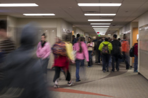 PN students blur their way through the halls.