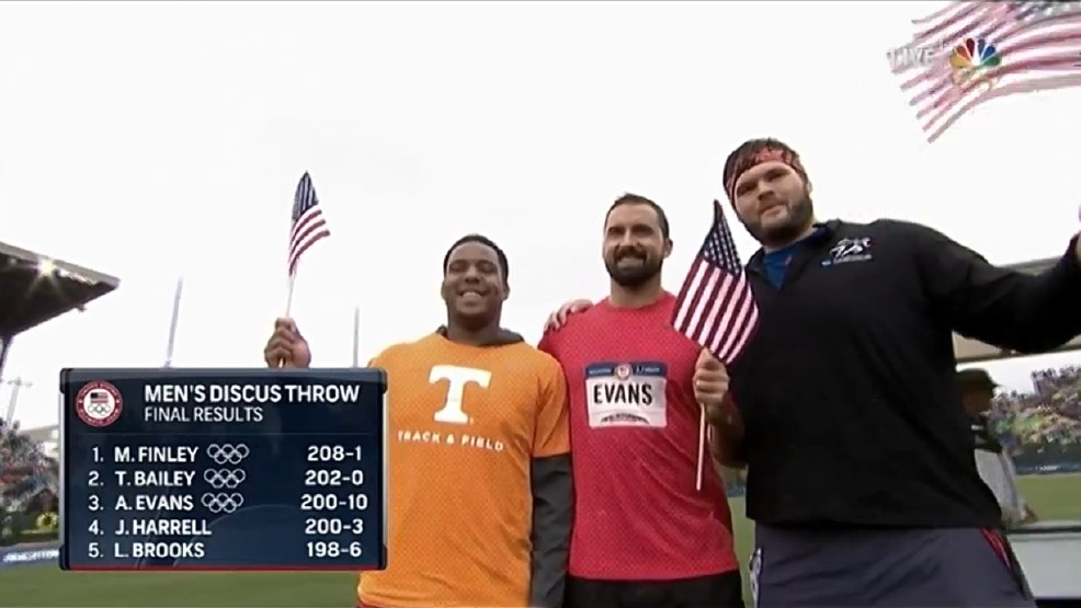 Evans, middle, stands with his USA Olympic teammates after qualifying to represent America.