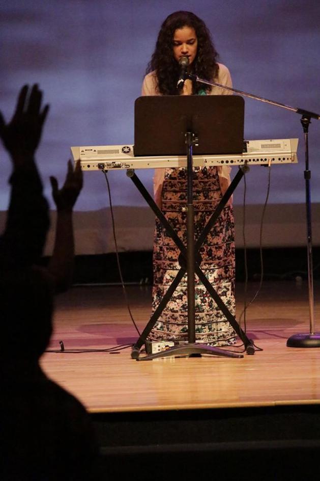 Madison sings at her church, Southridge.