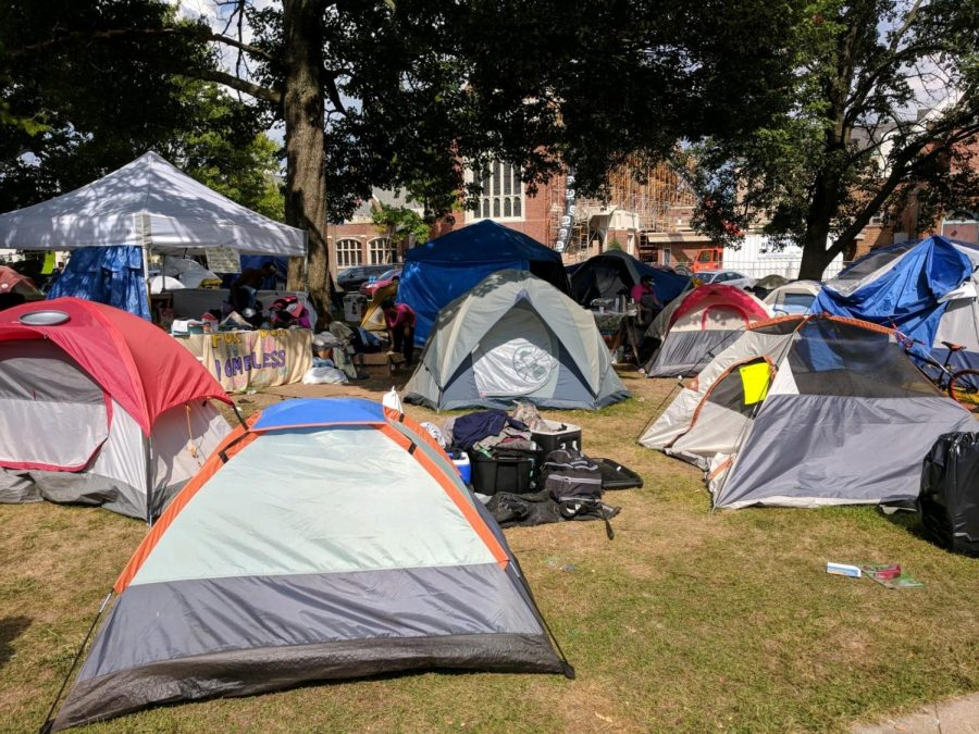 Homeless encampments like these absolutely fill the scenic park