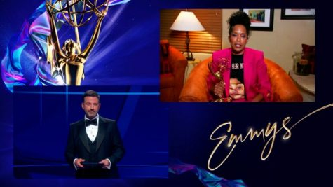 "Jimmy Kimmel presents the Emmy for Outstanding Lead Actress in a Limited Series or Movie to Regina King for ""Watchmen"" during the 72nd Emmy Awards telecast on Sunday, Sept. 20, 2020 at 8:00 PM EDT/5:00 PM PDT on ABC."