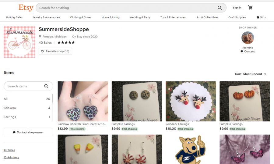 Crump's Etsy storefront, which features a variety of items for purchase.