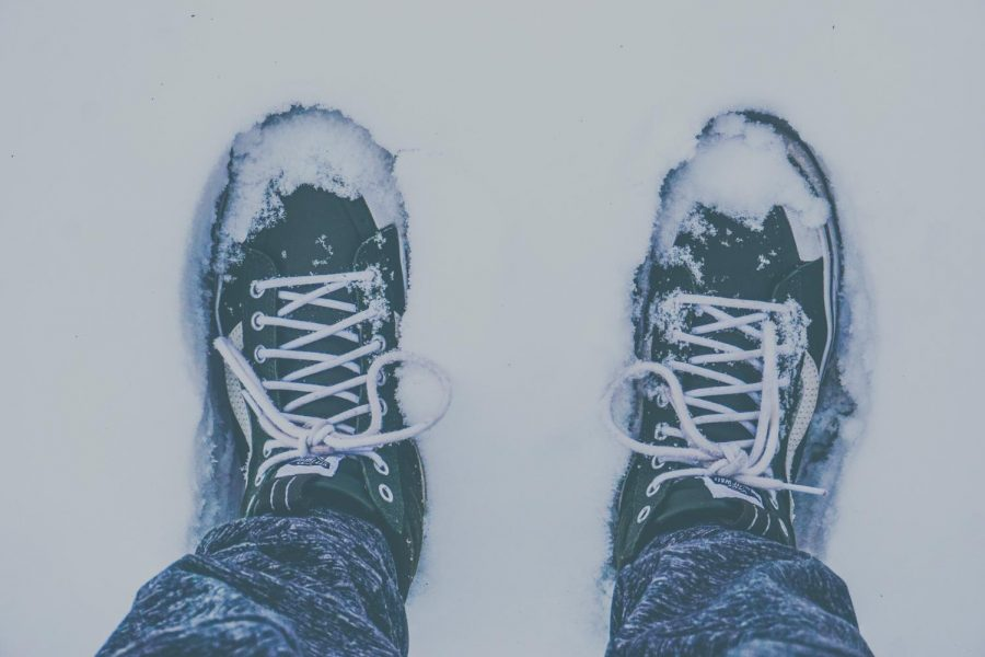 This is a very simple shot. I took it of my shoes by jumping into some clean snow so there were no footsteps around me. I liked that the snow on the top of my shoes gave interesting details, and the colors look really nice together.