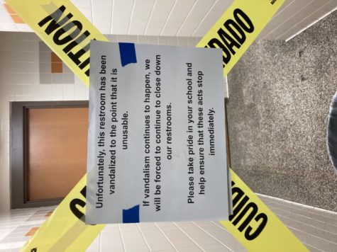 The third floor boys bathroom remains closed after it was vandalized to the point that it could not longer be used as the result of a TikTok challenge.